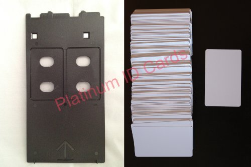 PVC ID Card Starter Kit - 50 Platinum Inkjet PVC Cards & PVC Card Tray for Canon IP/MP/MG Printers by Brainstorm ID