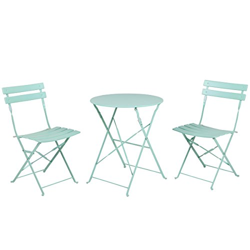Grand Patio Premium Steel Patio Bistro Set, Folding Outdoor Patio Furniture Sets, 3 Piece Patio Set of Foldable Patio Table and Chairs, Macaron Blue (Inexpensive Benches)