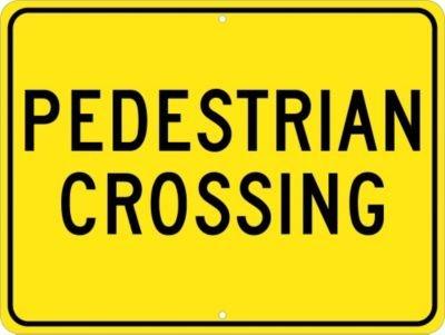 Legend PEDESTRIAN CROSSING 24 Length x 18 Height Black On Yellow Engineer Grade Prismatic Reflective Aluminum 0.080 NMC TM163J Traffic Sign
