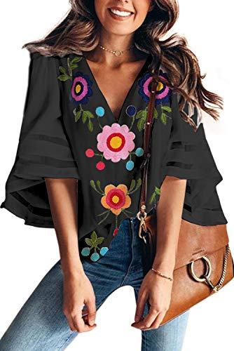 (VIGVOG Women's Casual Mesh Chiffon Shirts V Neck Bell Sleeve Embroidered Patchwork Blouse Tops (M, Black) )