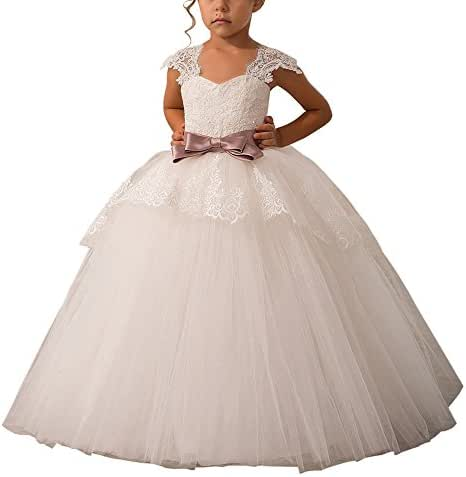 Carat Elegant Lace Appliques Cap Sleeves Tulle Flower Girl Dress White Ivory 1-14 Year Old