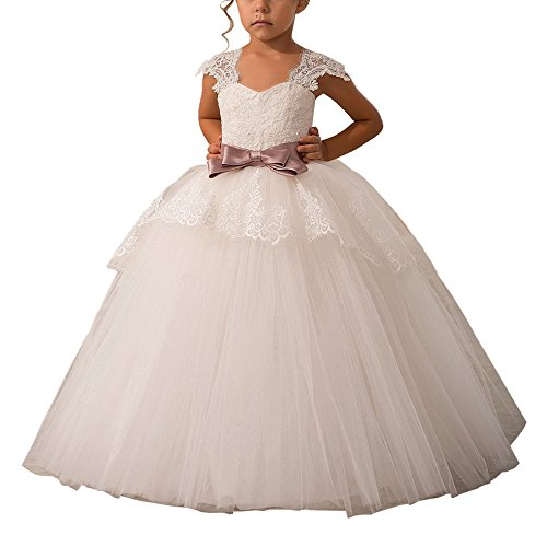 Elegant Lace Appliques Cap Sleeves Tulle Flower Girl Dress 1-14 Years Old Ivory with Pink Bow Size 10 (Applique Sleeves Lace)
