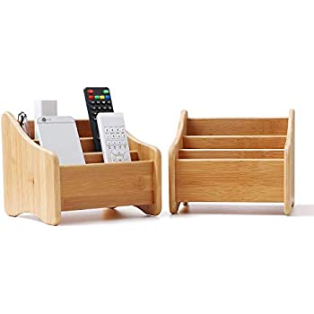 ComSaf Wood Desk Organizer Bamboo Remote Control Holder Caddy Storage Container with 3 Compartments for Pen Pencil Phone Eyeglasses Office Supplies Accessories Essentials