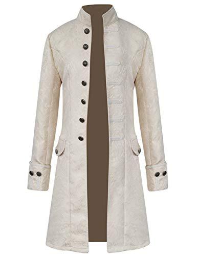 Mens Vintage Tailcoat Jacket Steampunk Victorian Uniforms Formal Tuxedo Coat Tie (S, Beige)