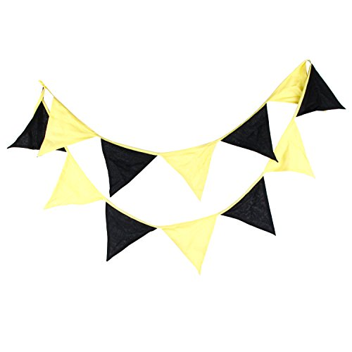 INFEI Yellow & Black Children Fabric Flags Bunting Banner Garlands for Wedding, Birthday Party, Outdoor & Home Decoration