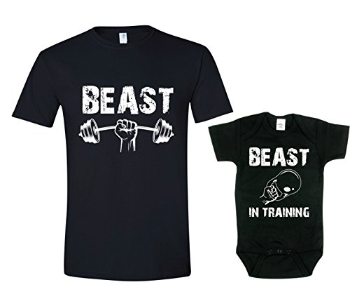 Texas Tees Dad and Son Tshirt Set, Beast in Training Bodysuit,Beast & Beast in Training - Black,Mens (XXX-Large) & 6-12 Month -