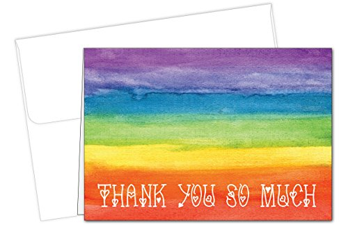 Rainbow Love Thank You Note Cards - 20 Cards & Envelopes - Gay Pride Note Cards