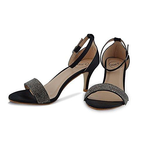 Scarpe Da Donna Con Tacco Basso In Essex Glam Con Cinturino Alla Caviglia E Sandali Da Sera In Punta Di Raso Nero