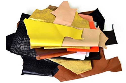 Leather Scraps, Premium Italian Leather Pieces, Sheets, and Strips, Genuine Leather Fabric for Craft and Accessory Making, Perfect Earring and Jewelry Crafting Material (2 Lbs Increments) ()