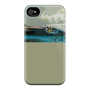 Top Quality Rugged Picture, Plane In The Sky, Sky, Clouds Case Cover For Iphone 4/4s