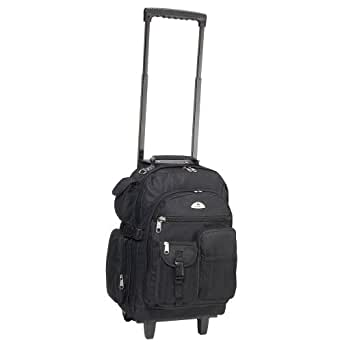 Everest Deluxe Wheeled Backpack, Black, One Size