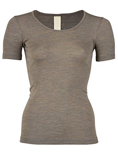 EcoAble Apparel Women's Thermal Tee Shirt for Layering, 70% Organic Merino Wool 30% Silk (34-36 / Extra Small, Walnut)