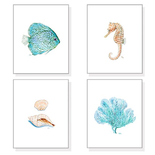 Coastal Wall Art, Coastal Prints Set of 4, Coastal Decor Beach Ocean Art, Nautical Watercolors Sea Wall Decor, Blue Fish Coral Sand Shells Seahorse (Wall Horizontal Shell)