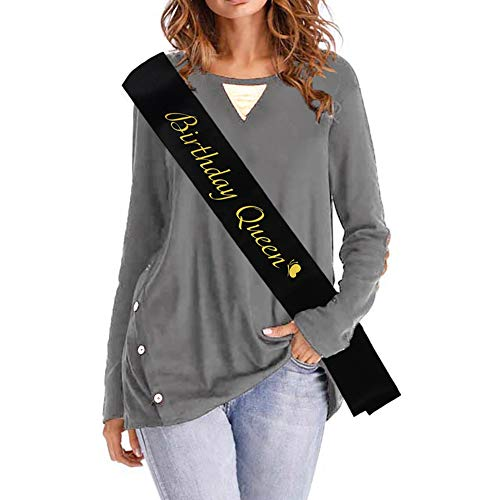 Blingbling Birthday Queen Sash - Black Satin with Gold Fonts Glitter