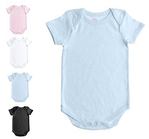 (Baby Jay Soft Cotton Onesies, Short Sleeve Lap Shoulder Bodysuit, WSSE Blue 6-12 1-Pack)