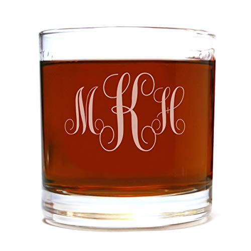 Personalized Etched Monogram Whiskey Rocks Lowball Glass