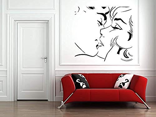 Wall Vinyl Decal Home Decor - Art Sticker Sexy Striptease Love Gerl Popart Kiss - Home Room Removable Mural HDS12501 -
