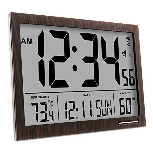 Marathon CL030062WD Slim Atomic Wall Clock with Jumbo Display, Calendar, Indoor Temperature & Humidity. Color- Walnut Wood Tone.