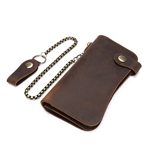 Itslife Men's Chain Wallet Crazy Horse Leather Handmade Credit Card Holder