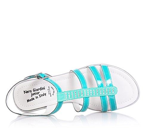 NERO GIARDINI - Grüne Sandale aus Lackleder und Stoff, mit Schnallenverschluss, Mädchen