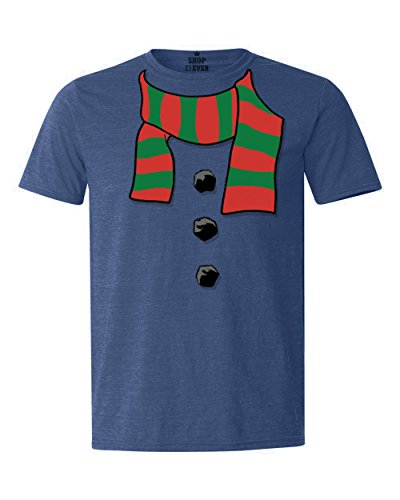 Christmas In Costumes July (Shop4Ever Snowman Scarf Costume T-shirt Christmas Shirts X-Large Heather Royal)