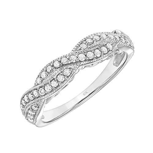 Brilliant Expressions 14K White Gold 1/3 Cttw Conflict Free Diamond Double-Twist Fashion Anniversary Band (I-J Color, I2-I3 Clarity), Size 7.5
