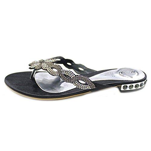 Noir gemz Femmes Parti Taille Léger Sandales Ultra W Mesdames Confort Soirée Chaussures Un amp; Diamante Bxx6gn1