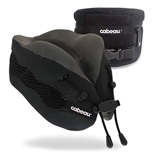 Cabeau Evolution Cool Travel Pillow- The Best Air Circulating Head and Neck Memory Foam Cooling Airplane Neck Pillow - Backed by Sleep Science for Maximum Sleep Support - Black