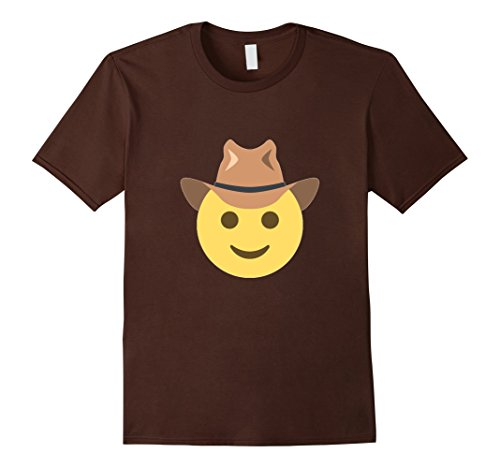 Men's Cowboy Hat Emoji Tshirt Smiley Happy Face Cartoon Horse Small Brown (Cartoon Cowgirl)