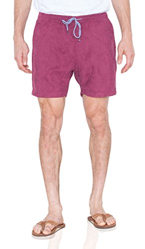 Basic Corduroy (Visive Shorts for Men Elastic Waist Corduroy Drawstring Basic Essentials Short Large Burgundy)
