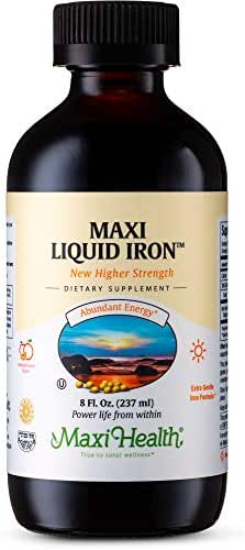 Maxi Health Liquid Iron - Concentrate - Fruit Punch Flavor - Sugar Free - 8 Ounce Bottle - Kosher
