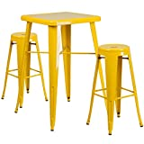 Flash Furniture 23.75'' Square Yellow Metal Indoor-Outdoor Bar Table Set with 2 Round Seat Backless Barstools