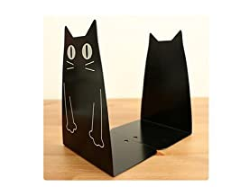 Sharing Star One Pair Cute Cat Patten Library School Office Home Study Metal Bookends Nonskid Bookends Bookend Art Gift Art Bookend (Black)