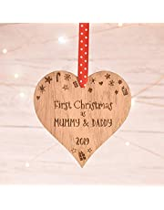 Manta Makes First 1st Christmas for a new Mummy and Daddy parents decoration wood keepsake xmas bauble 9CD