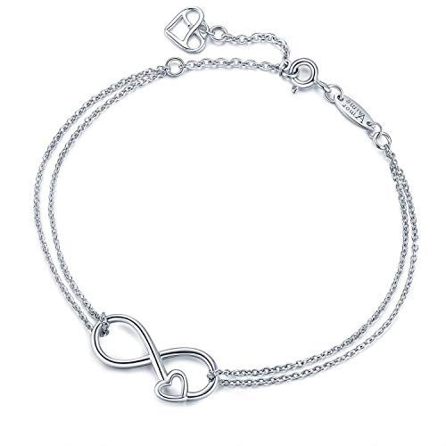 AmorAime Infinity Bracelet 925 Sterling Silver Bracelet Endless Love Charm Womens Adjustable Double Chains Girls Jewelry Gift for Mother's Day (Forever Heart)