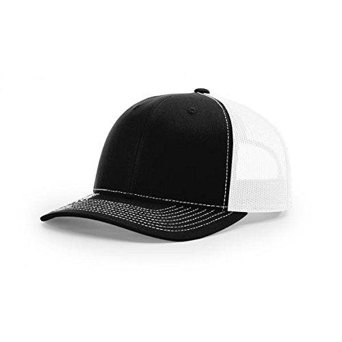 Richardson Black/White 112 Mesh Back Trucker Cap Snapback Hat