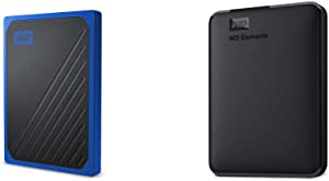 WD 1TB My Passport Go SSD Cobalt Portable External Storage, USB 3.0 & WD 4TB Elements Portable External Hard Drive HDD, USB 3.0, Compatible with PC, Mac, PS4 & Xbox - WDBU6Y0040BBK-WESN