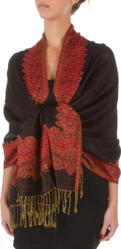 Sakkas Border Pattern Layered Reversible Woven Pashmina Shawl Scarf Wrap Stole - Black Red ()