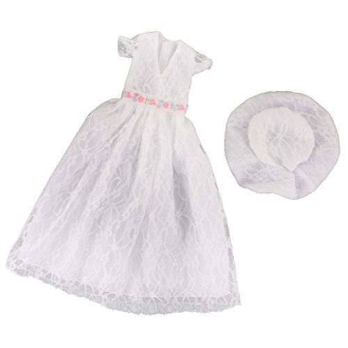 Fenteer Sweet Doll Girl Long V-neck Lace Dress Skirt with Hat for 1/4 BJD SD DD DOD LUTS Dollfie Costume Accessories White