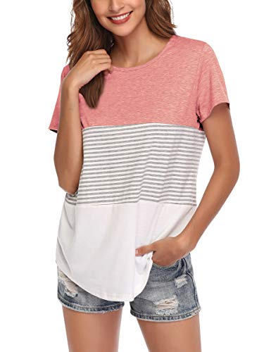 AUPYEO Women's Short Sleeve T Shirt Round Neck Color Block Stripe Top Casual Blouse