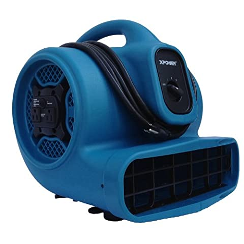 XPOWER X-400A 1/4 HP 1600 CFM 3 Speed Air Mover with Dual Outlets for Daisy Chain, 3.0-Amp - 0.25 Hp Water