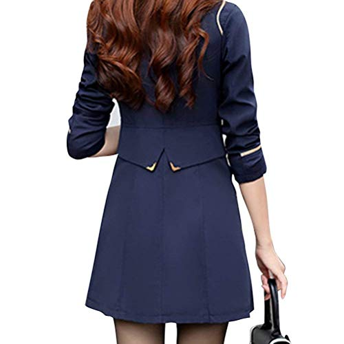 Elgante Transition Trench De Costume Manteau Longue Boutonnage Automne Femme Revers Long Double Mode Slim Outerwear Fit Dunkelblau Printemps Manches Manteau pSw6Ppx