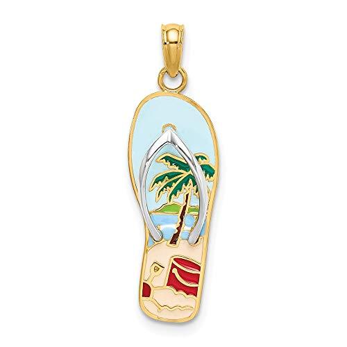 14k Yellow Gold Enamel Palm Tree Bucket Flip Flop Pendant Charm Necklace Sea Shore Sal Fine Jewelry Gifts For Women For ()