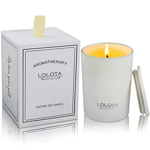 (LALATA Jasmine Lily Scented Candle Gift Soy Wax Aromatherapy Set of Fragrance Soy Candle 9.5 OZ-270g 55 Hours Burn Fine Home Fragrance Gifts Candle for Stress Relief and Relaxation)