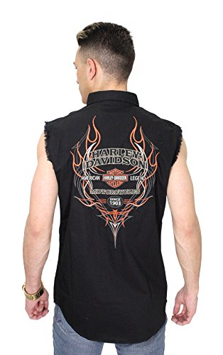 Harley Shirt Davidson Embroidered (Harley-Davidson Mens Pinstripe Flames with B&S Black Sleeveless Blowout 99051-16VM (X-Large))