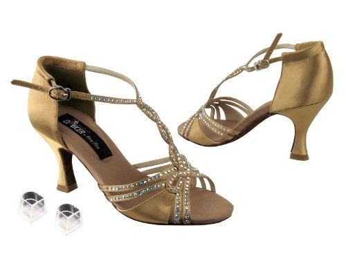 Ladies Women Ballroom Dance Shoes from Very Fine Competitive Dancer CD2801 2.5'' Heel with Heel Protectors (6, Tan Satin)