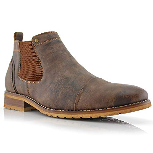 Ferro Aldo Sterling MFA606325 Mens Casual Chelsea Slip on Ankle Boots – Brown, Size 9.5