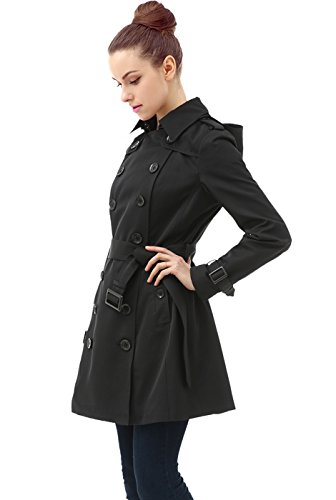 BGSD Women's Leah Hooded Mid Length Trench Coat - Black XS