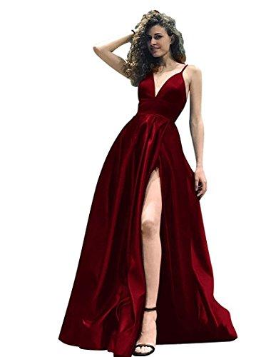 Lang A Brautjungfernkleider Festkleider Ausschnitt Damen BallKleider V Burgundy Line Abendkleider CAxnqF