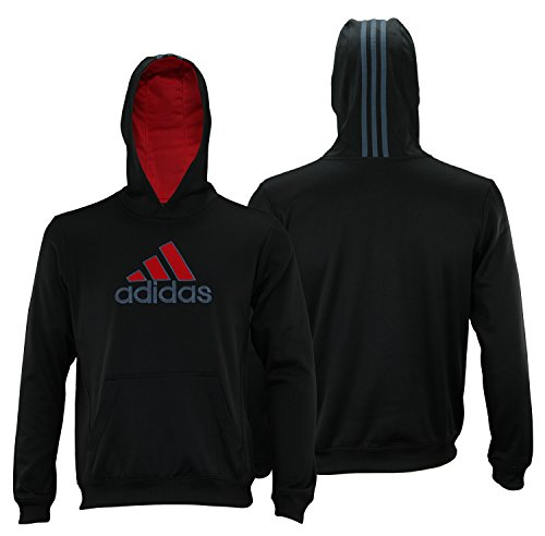 adidas Youth Post Route Athletic Pullover Hoodie, Color Options (Small (8), Black/Scarlet)